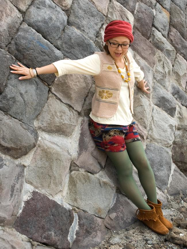 ネパールふわふわ起毛のショートパンツの写真