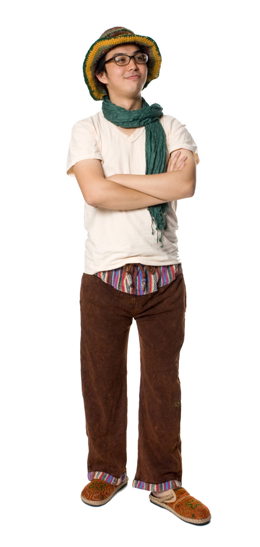 ネパールゲリのスウェットパンツ 5 - E:ブラウンです。身長170�のスタッフが着てみました。ちょっと短めですが問題なく履けるレベルです。
