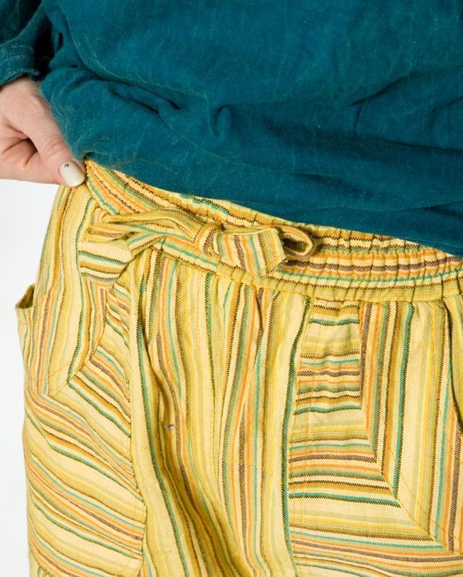 ゆったりストレートで履きやすい!コットンストライプパンツ  6 - ウエストはゴムと紐なのでラクチンです。