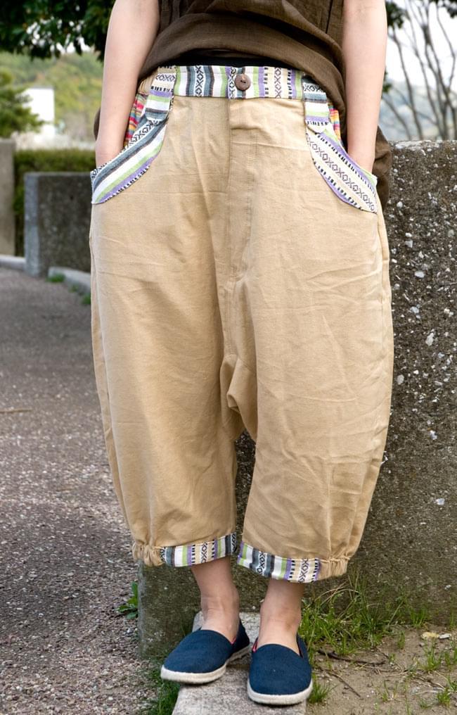 ニットポケットが可愛い!コットンパンツ 5 - E:ベージュ