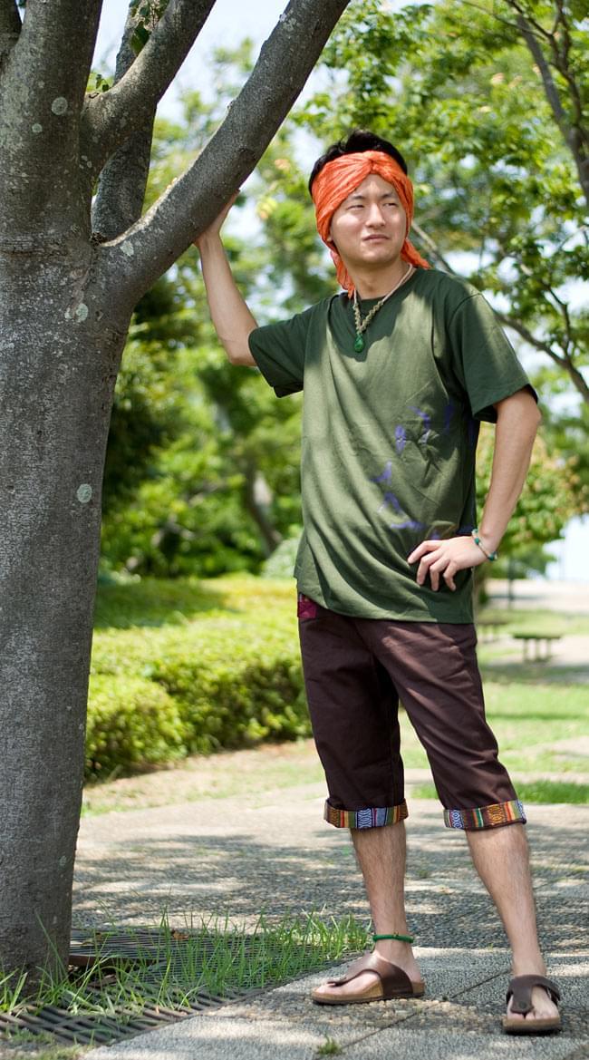"""ゲリポケットのコットンハーフパンツの写真5 - E:ブラウン<br>■<A Href=""""http://www.tirakita.com/TS-FLA-689"""">太陽礼拝 Tシャツ 【カーキ】</A><br>"""