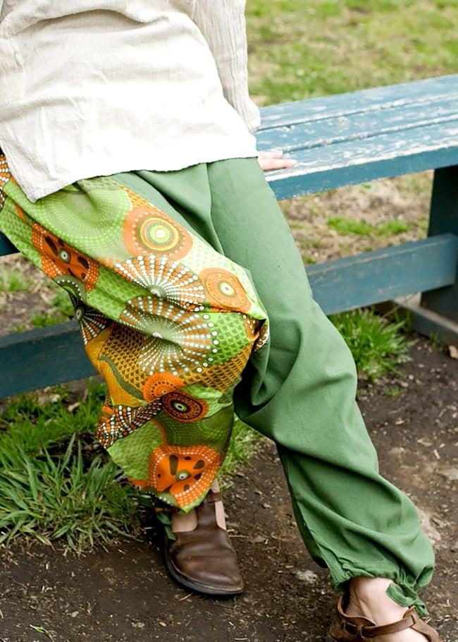 インディアンプリントのモモンガパンツの写真10 - I:グリーン×ブルー
