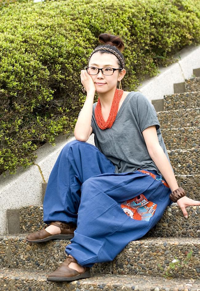 プリントポケットのモモンガパンツの写真6 - E:ブルー