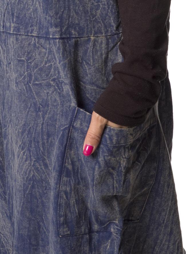 ストーンウォッシュサロペット 【オレンジ】 7 - ポケットもあるのでとっても便利です。