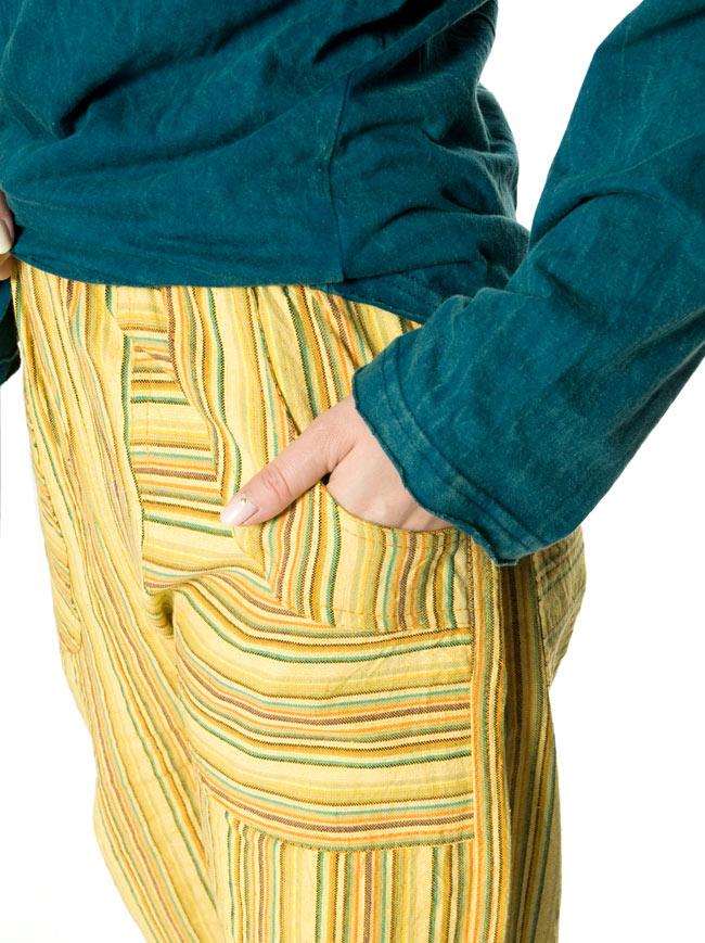 コットンストライプパンツ 【グリーン系】 8 - 大きめのポケットが可愛いです。