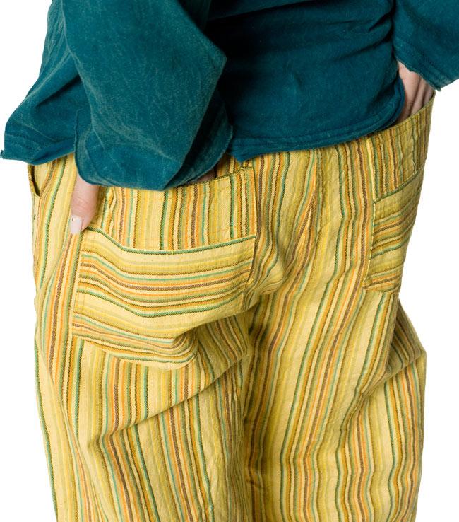コットンストライプパンツ 【グリーン系】 9 - 後ろにもポケットがしっかりあります。