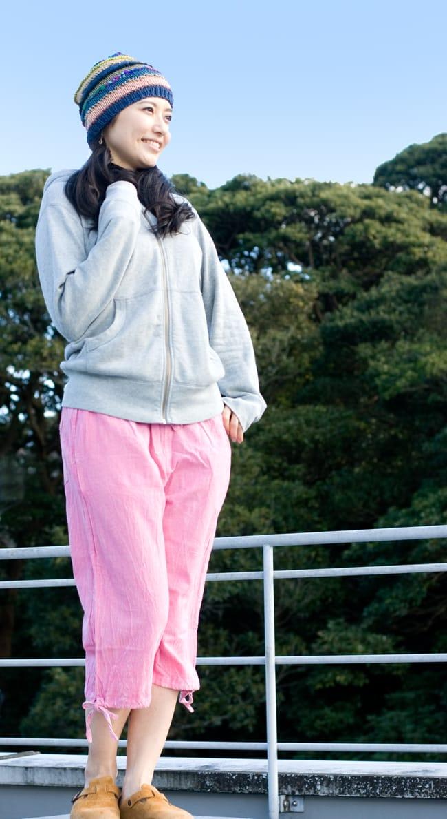 ストーンウォッシュの八分丈パンツ 【ピンク】 3 - 春先から秋口まで長くお楽しみ頂けます。