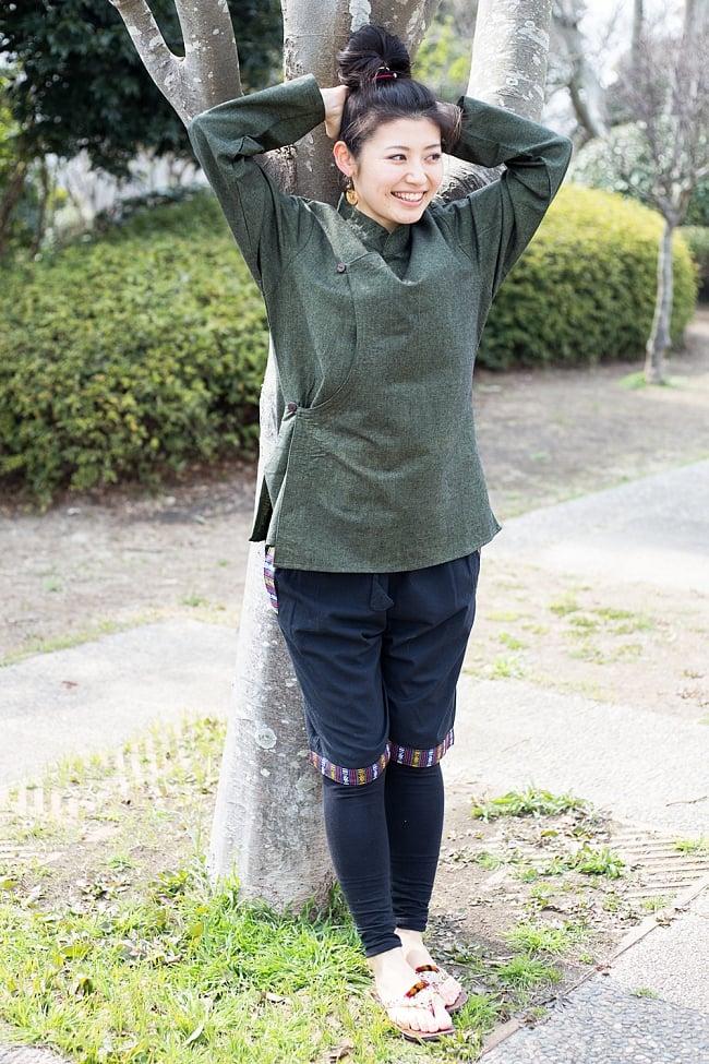 ブータン織ライン入り コットンハーフパンツ 5 - E:ブラック 女性が着てもキュートです!