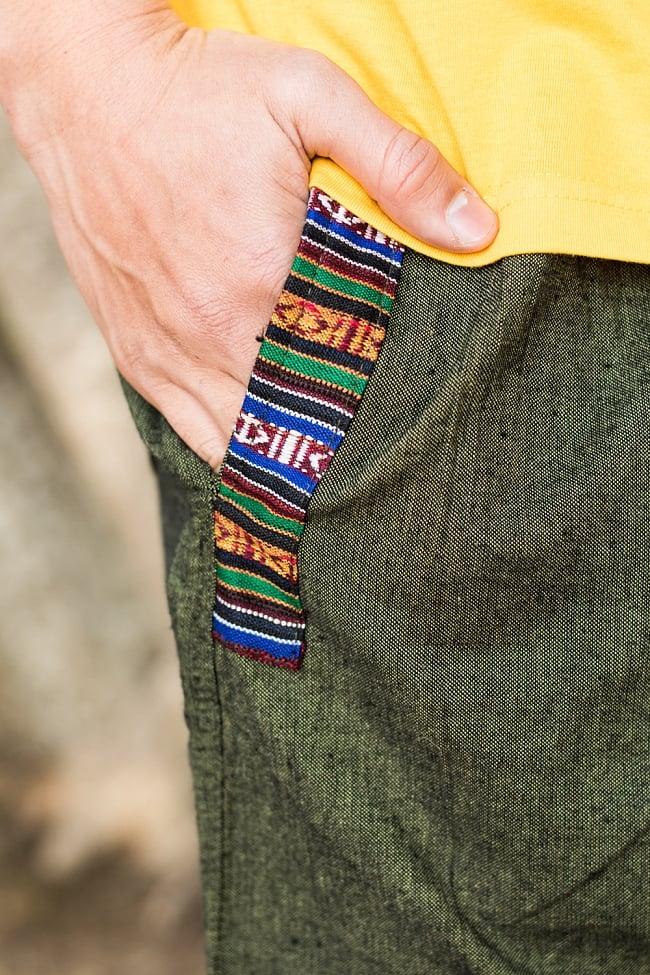 ブータン織ライン入り コットンハーフパンツ 7 - ポケットの口にはブータン柄の布が用いられていてエスニックです!