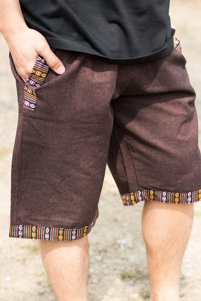 ブータン織ライン入り コットンハーフパンツ 8 - 裾口にも派手すぎない飾りがついています。