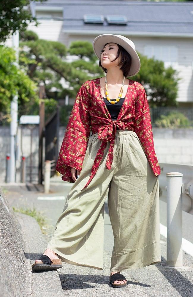 薄手コットンのワイドパンツ 7 - 身長152cmのモデルさんの着用例です。