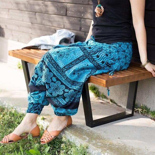 ぞうさんとお花の2WAYモモンガパンツ 【黒×水色】 3 - ゆったりとして身動きの取りやすいパンツです。