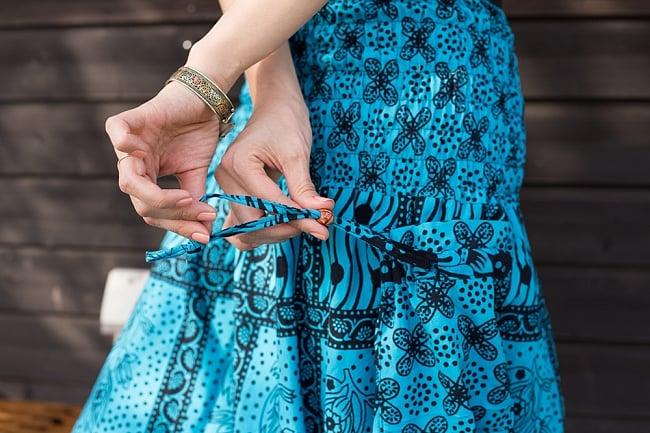 ぞうさんとお花の2WAYモモンガパンツ 【黒×水色】 4 - ポケットは紐ですぼめられるようになっています。