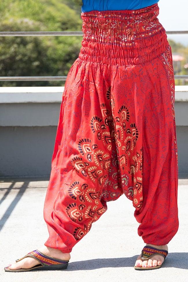 マンダラプリントのアラジンパンツ 10 - F:赤