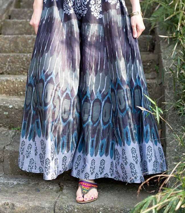 イカットプリントのワイドフレアパンツ 6 - 裾周り部分を見てみました。スカートのようにも見える幅広パンツです。