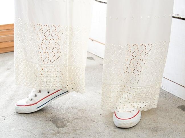 インド刺繍レースのワイドパンツ 4 - 裾のレースがとても可愛いです!
