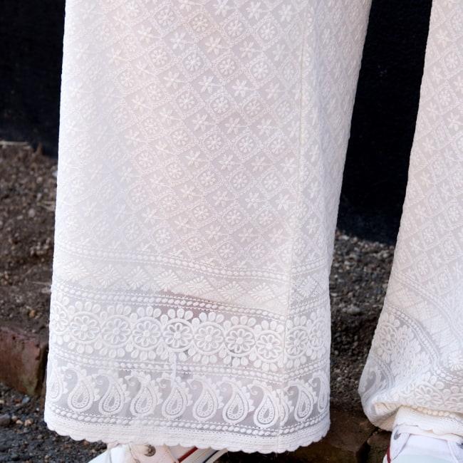 総レースが美しい インド刺繍レースのワイドパンツ 6 - 裾のレースがとても可愛いです!