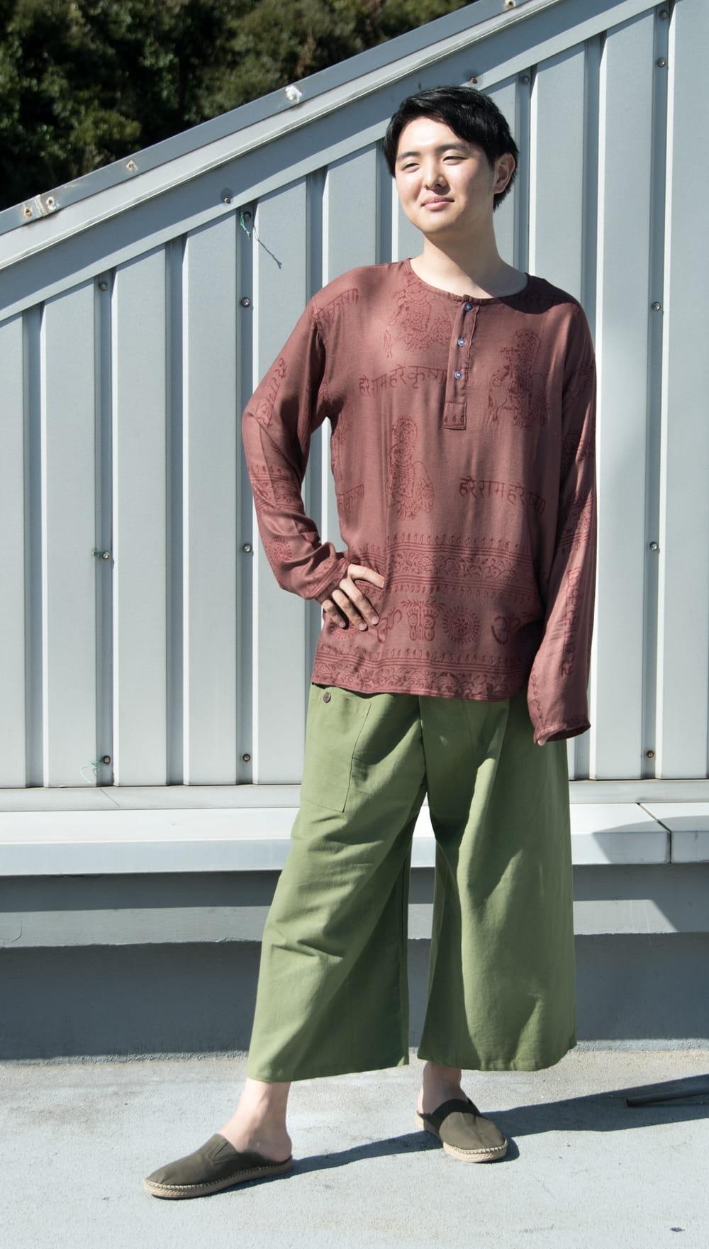 病みつきになる履き心地 簡単!らくちん!タイパンツ 2 - 身長172cmのモデルが着てみました。嬉しいユニセックスデザインです。