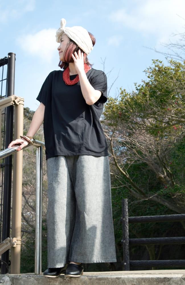 病みつきになる履き心地 簡単!らくちん!タイパンツ 3 - 身長152?のモデル着用例です。