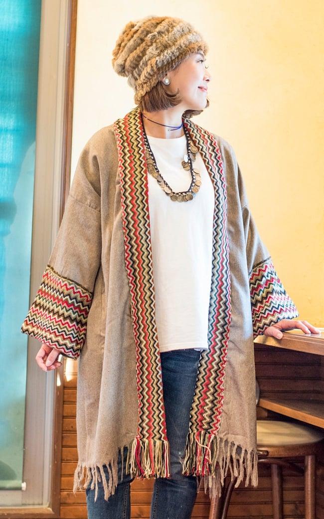 ワイドスリーブのポンチョカーディガン 8 - 外出時は勿論、室内着としても魅力的です。