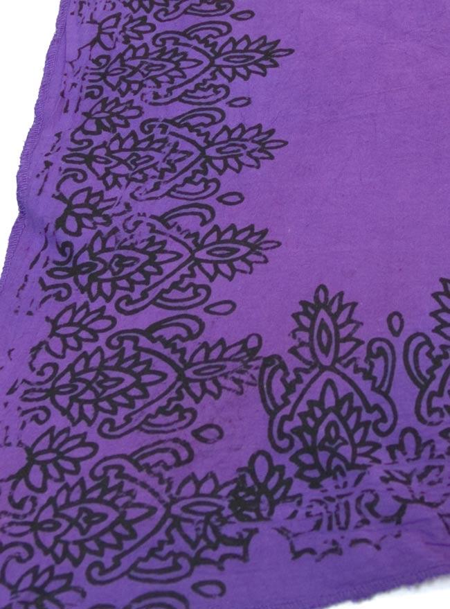 エスニックプリントスカートポンチョ【紫】  3 - プリント部分です。手作業ですので、かすれた部分があります。