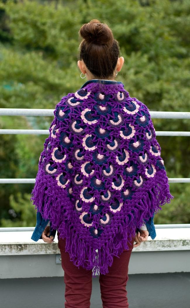 ウールポンチョ - 紫系 3 - 後ろ姿はこんな感じです。