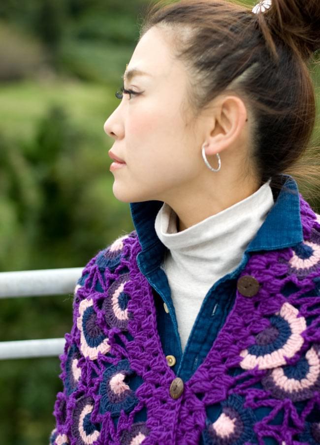 ウールポンチョ - 紫系 4 - 襟元をアップにしてみました。