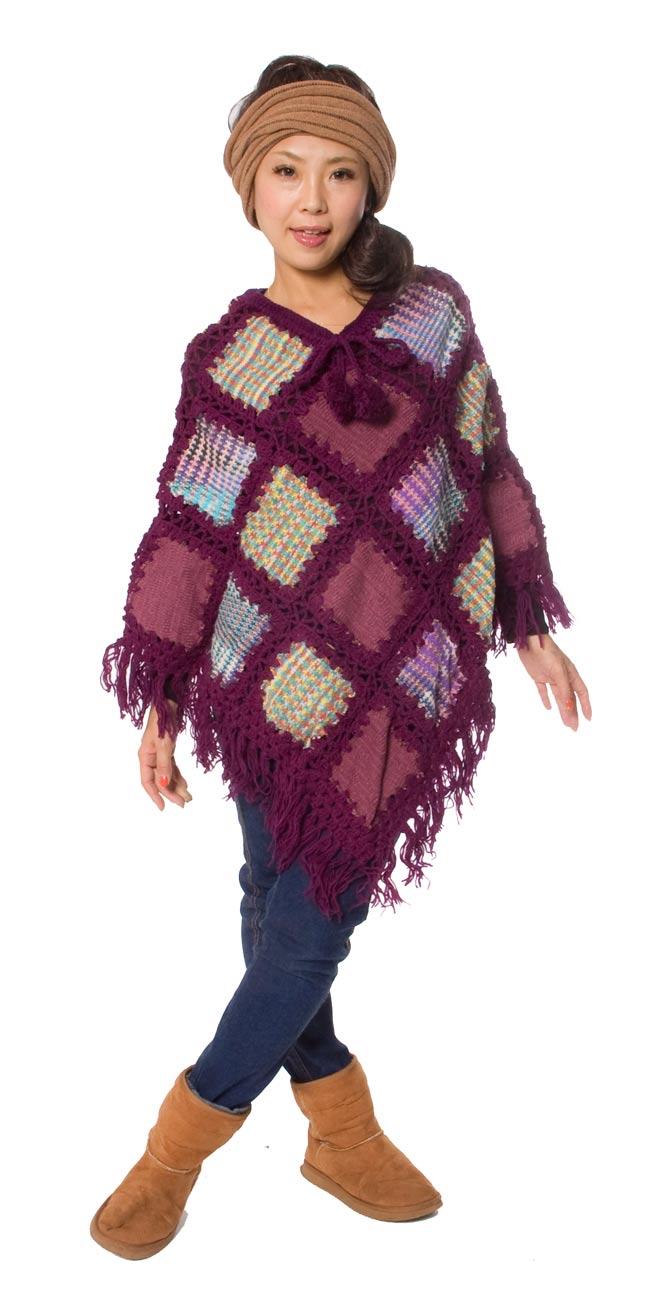 パッチワーク風ウールポンチョ 【パープル系】 2 - 身長150cmのモデルさんが着てみました。とっても温かいです。