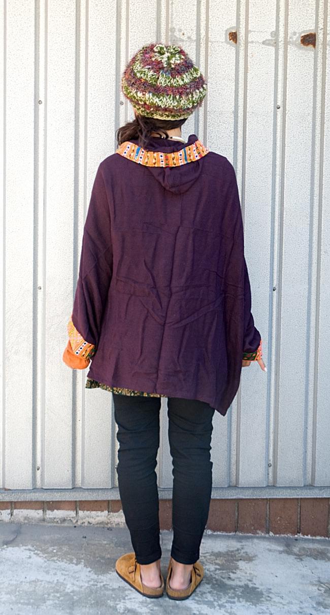 モン族刺繍ポンチョ 【ダークパープル】 4 - 後ろ姿はこんな感じです。とってもシンプル!