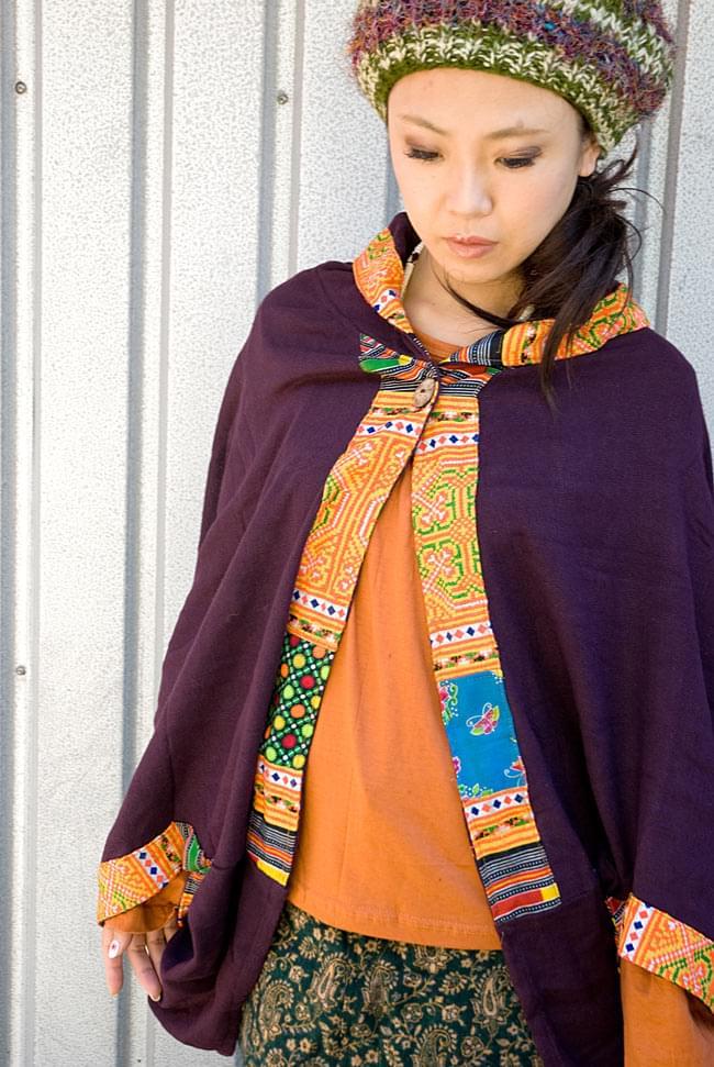 モン族刺繍ポンチョ 【ダークパープル】の写真