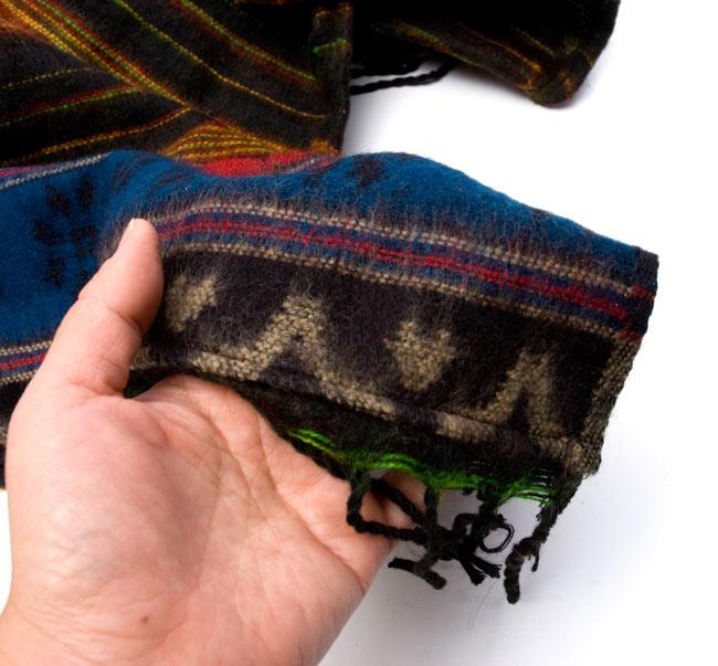 ふわふわボーダーとダッカ織りのポンチョ  10 - 素材は起毛でふわふわです。とても気持ちのよい素材ですよ。