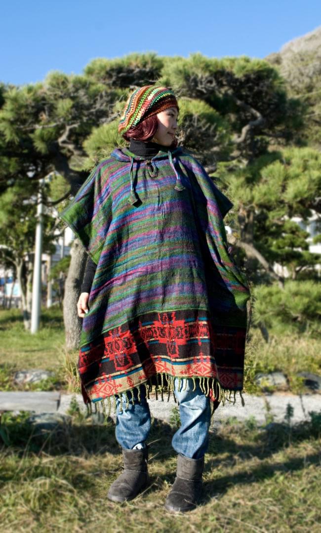 ふわふわボーダーとダッカ織りのポンチョ  5 - E:グリーン・パープル