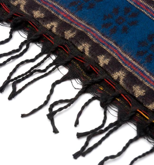 ふわふわボーダーとダッカ織りのポンチョ  7 - フリンジ部分の拡大です。裾は前と後ろ、ともにフリンジです。