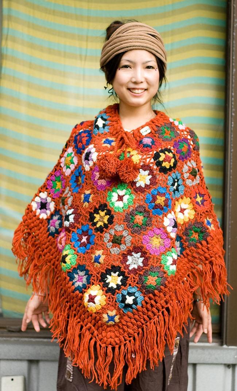 お花モチーフのカラフルポンチョの写真2 - B:オレンジ