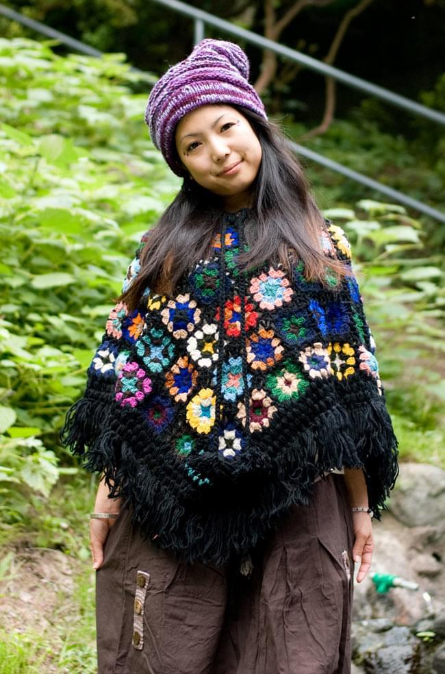 お花モチーフのカラフルポンチョの写真9 - I:ブラック