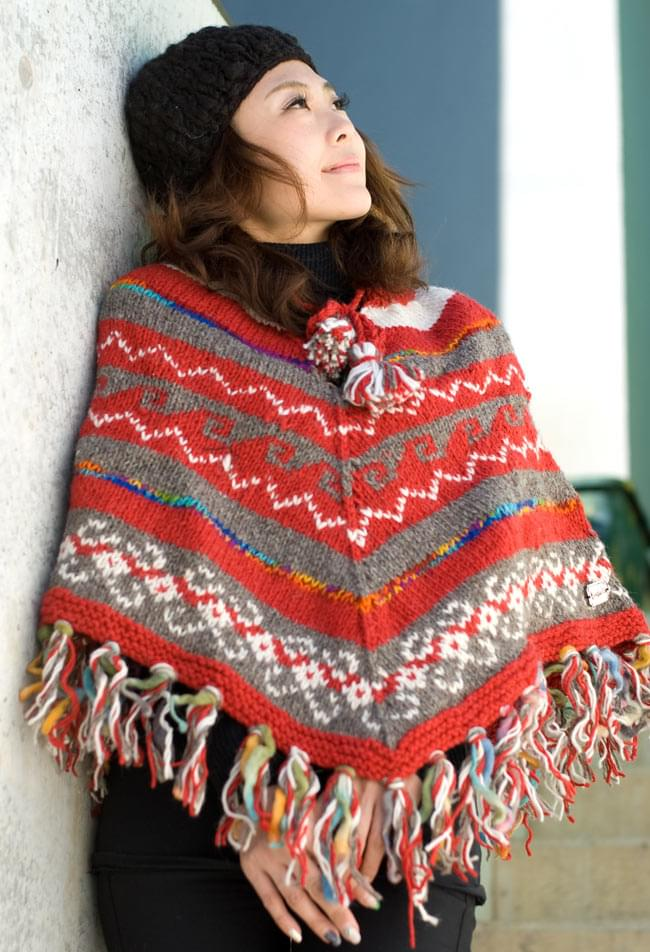 手編みのカラフルウールポンチョ 11 - K:グレー×赤