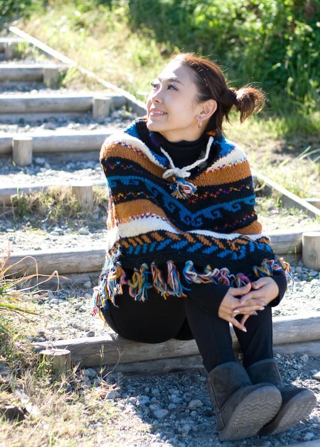 手編みのカラフルウールポンチョ 6 - F:ブルー×茶