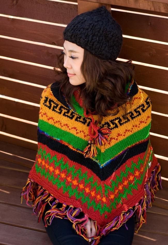 手編みのカラフルウールポンチョ 9 - I:オレンジ×赤