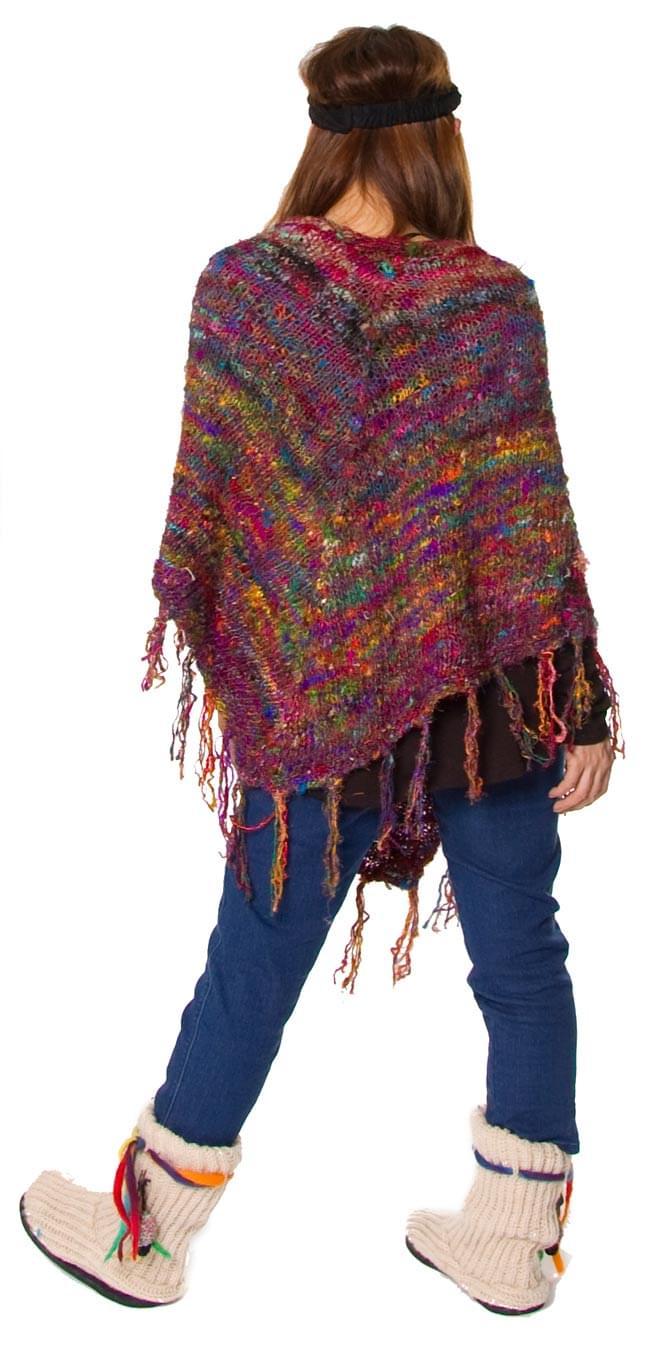 シルク編みポンチョ 3 - 後ろ姿はこんな感じです。