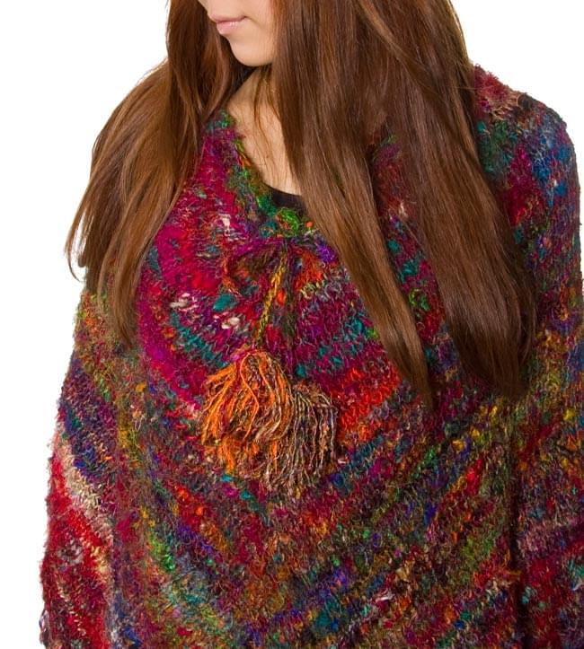 シルク編みポンチョ 4 - アップしてみました。