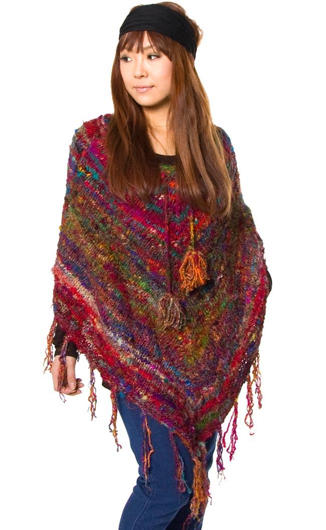 シルク編みポンチョの写真1