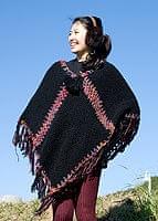 ウール・シルク編みポンチョ