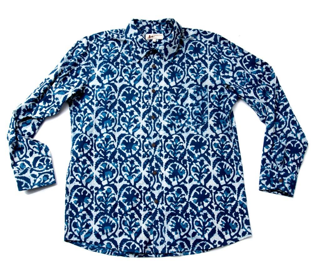 インディゴ染 メンズ 長袖 ロング スリーブシャツ  8 - 平置きしてみました