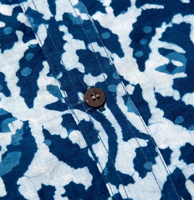 インディゴ染 メンズ 長袖 ロング スリーブシャツ  9 - 布の拡大です