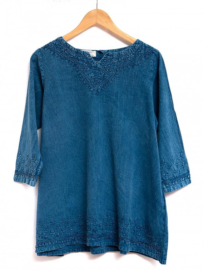 手刺繍が美しい インド綿のストーンウォッシュシャツ 10 - 選択1:インディゴ