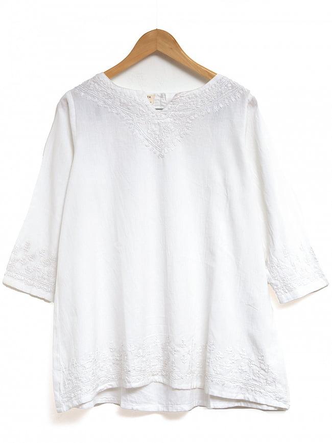 手刺繍が美しい インド綿のストーンウォッシュシャツ 11 - 選択2:ホワイト