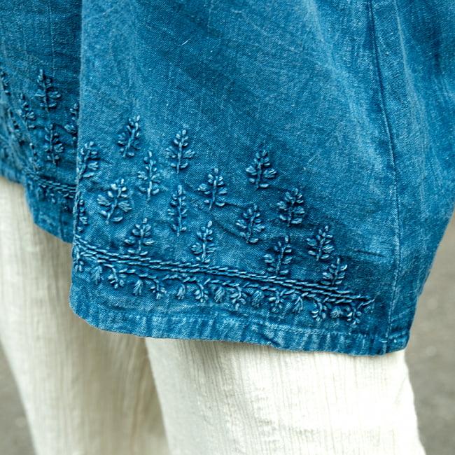 手刺繍が美しい インド綿のストーンウォッシュシャツ 9 - 裾部分をアップにしてみました。