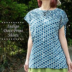 インディゴのろうけつ染めが美しい ドット柄のフレンチスリーブシャツ