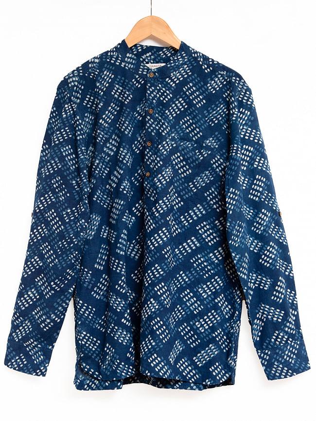 柔らかい風合いが魅力的 藍染とカンタ刺繍のクルタシャツ 10 - インディゴ