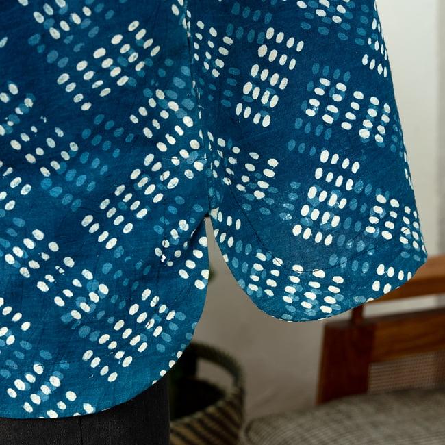 柔らかい風合いが魅力的 藍染とカンタ刺繍のクルタシャツ 7 - スリットもまあるいカーブの優しい仕上がりに。
